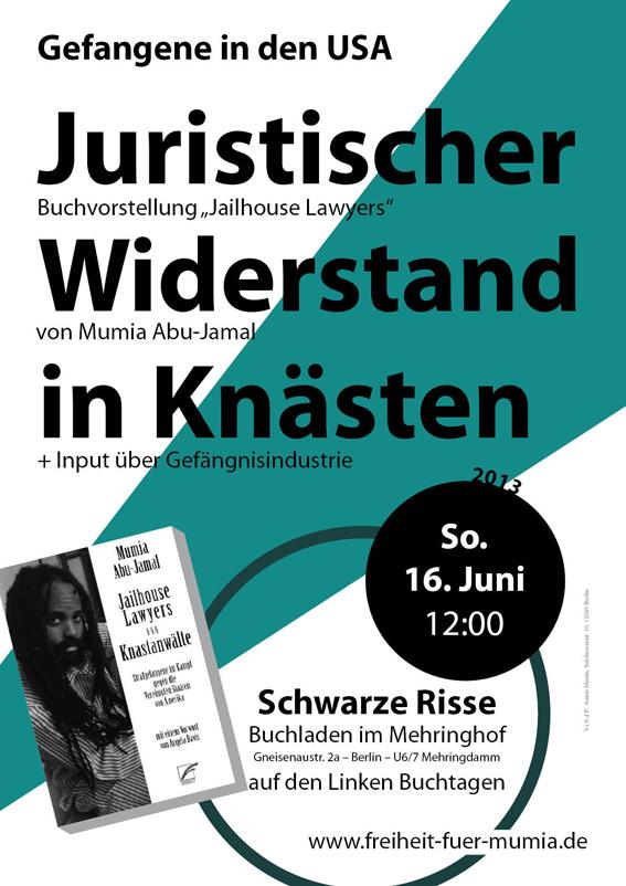 Plakat zu Jailhouse Lawyers Veranstaltung an den Linken Buchtagen im Mehringhof