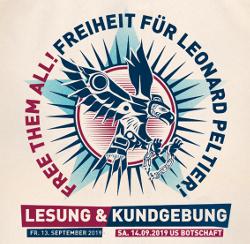 Kundgebung free dem all, Freiheit für Leonard Peltier 14.09.19 Berlin