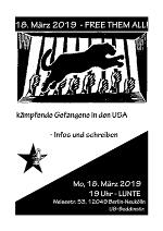 Plakat zur Veranstaltung Free them all in der Lunte am 18.3.19