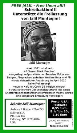 Free Jalil - Free them all!! Flyer mit Text zum Artikel