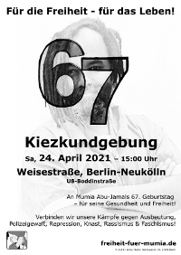 Kundgebung zu Mumias 67. Geburtstag in Berlin